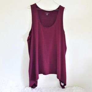 Lane Bryant 26/28 Wine Sleeveless Blouse Flowy